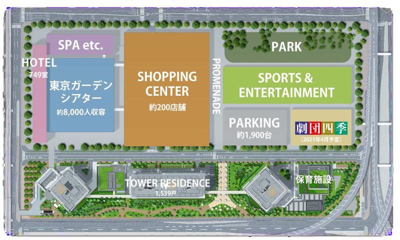 有明ガーデンの施設配置全体図
